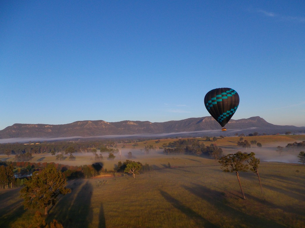 Flying low over the Hunter Valley during winter.