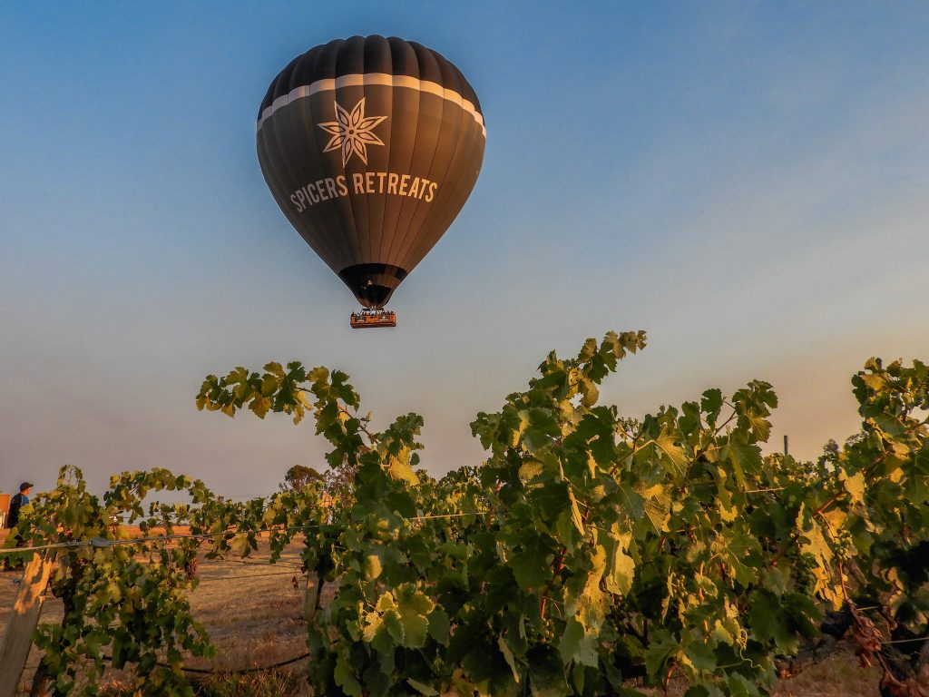 spicers retreats hot air balloon flying over a vineyard